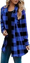 TMOTYE Damen Kariert Sweater Pulli Langarm Fledermaus Batwing Rücken Bluse Langarm Shirt Oberteile Hemd Sweatshirt Tops Loose Lässig Casual Cardigan Langarm Outwear