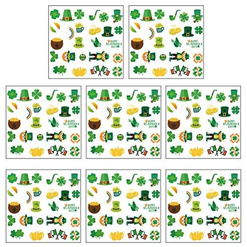 St. Patricks Day decoraties 2 sets van 200 pasta shamrock ramen Clings Decals Vier klaverblad raamstickers voor venstermuren St. Pattys Day Party Favors Supplies Decoratie