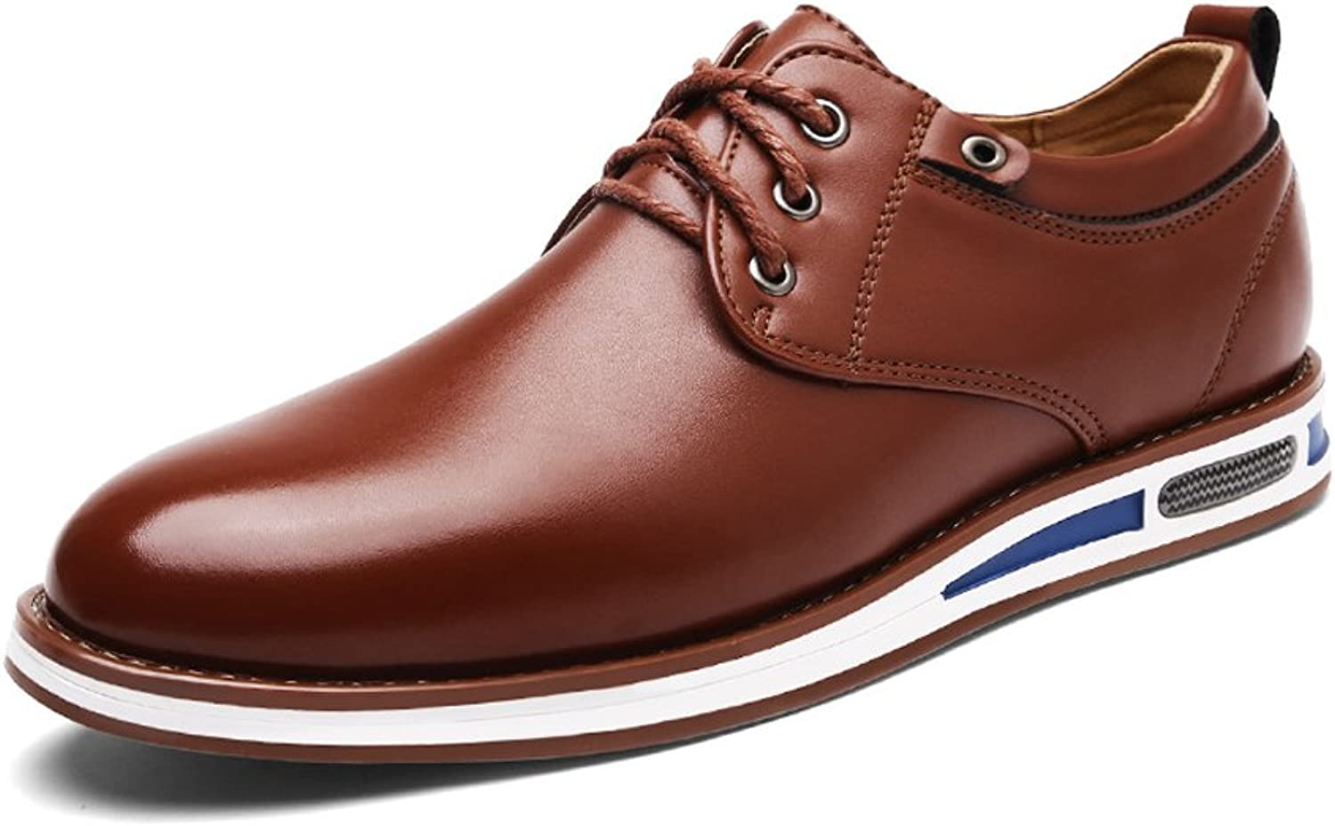 L.W.S Modern Men's Round Toe shoes Matte PU Leather Upper Lace Up Flat Sole Breathable Lined Oxfords