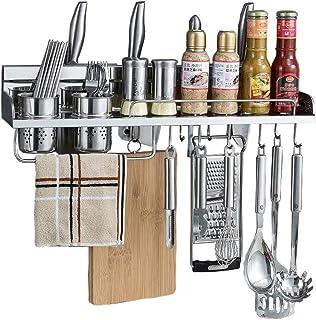 YJKDM 304 étagères de Fournitures de Cuisine en Acier Inoxydable, Supports à épices muraux, Supports de Cuisine, Supports ...
