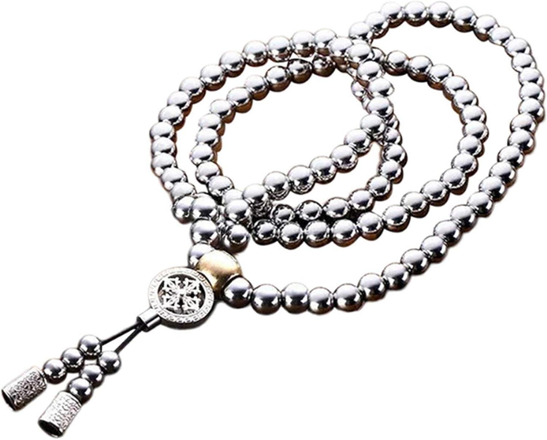 PEPAXON 108 Buddha Beads Bracelet Stainless Steel Buddism Bead Mala Necklace Chain