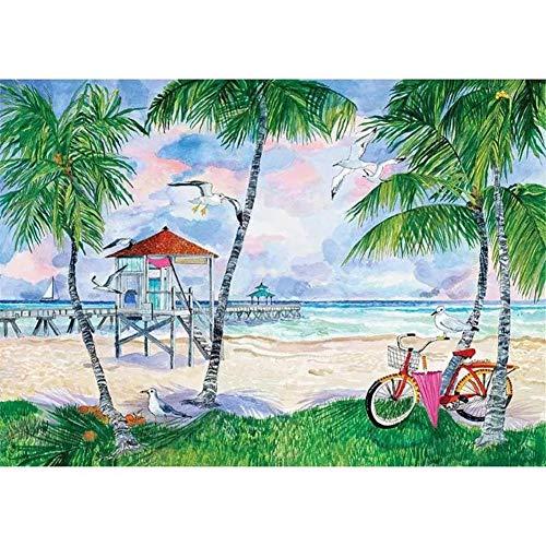 DIY 5D Diamante Pintura Bicicleta de playa por Número Kit Bricolaje Diamond Painting Rhinestone Bordado de Punto de Cruz Artes Manualidades Lienzo Pared Decoración 40x50cm