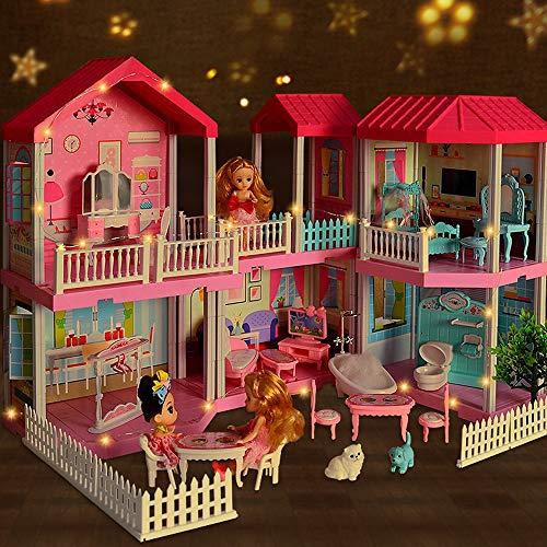 MikeyBee Casa de la princesa Barbie Set Caja de Regalo Mansión Sueño Casa Muñeca Simulación Villa Castillo Chica Juego Casa Construir Juguetes Niños Aumentar Villa