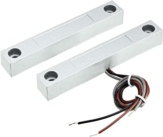 uxcell MC-58 NC NO Alarm Security Rolling Gate Garage Door Contact Magnetic Reed Switch Silver Gray