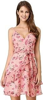 Allegra K Women's Spaghetti Strap V Neck Belted Floral Ruffle Dress M Pink