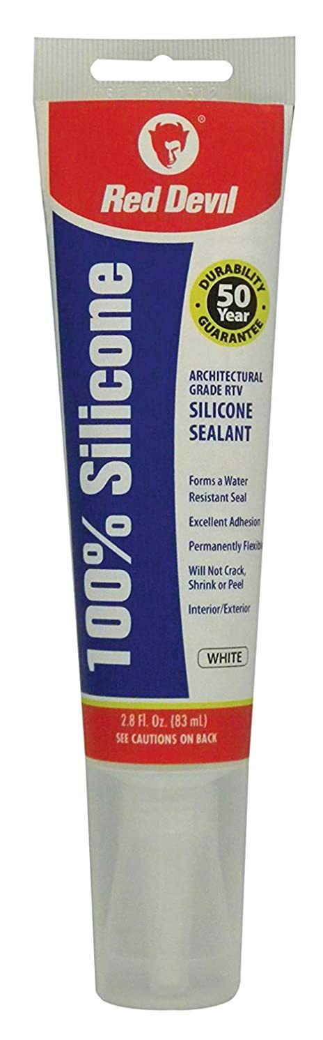Red Devil 0810 100 Percent Silicone Sealant Architectural Grade, White, 2.8-Ounce