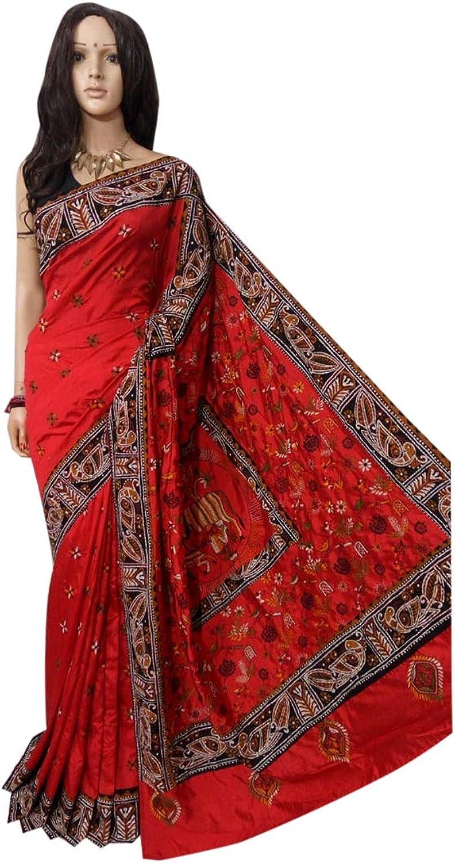 Indian Saree Kantha Ethnic Batik Border Designer Collection Sari Party Formal Women Wear 103a