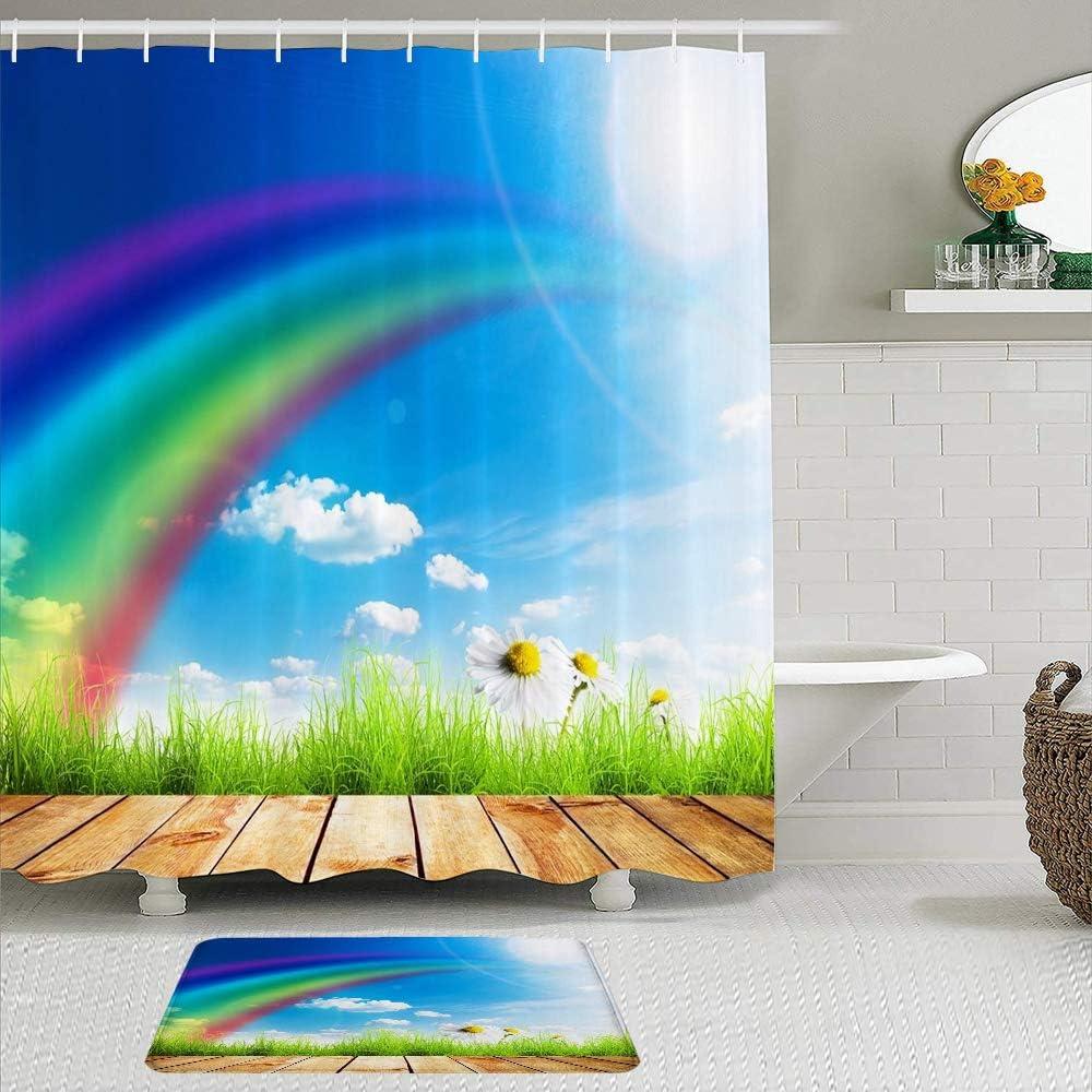 LUBATAGA 2 Piece Shower Curtain Set Su Rugs Spring Slip Popular brand Non with security