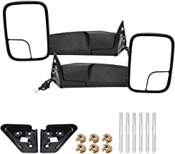 Qiilu Pair Power Heated Towing Mirrors with Manual Folding Rearview Automotive Exterior Mirrors Compatible with Dodge RAM 1500 2500 3500 1998-2001 - L&R