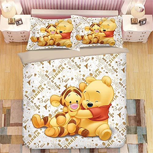 NICHIYO Winnie The Pooh - Juego de cama de 3 piezas con funda de edredón 3D - Juego de cama de 3 piezas (funda nórdica + 2 fundas de almohada), grueso y suave, 04, Single 140x210cm