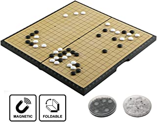 Go Game Set Foldable 28cm /11 inch Portable with Magnetic Plastic Stones Classic Chinese Strategy Board Game