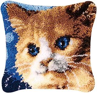 Coopay Kit completo de funda de cojín con ganchillo, para hacer fundas de almohada, para niños, adultos, principiantes, decoración del hogar, 43 x 43 cm, gato