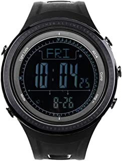 Outdoor Sports Watch, Pedometer Altimeter Barometer, Weather Forecast, Stopwatch Functions, Waterproof Wrist Watches, by (Black)