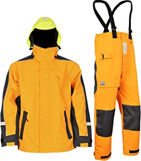 Navis Marine Coastal Sailing Jacket with Bib Pants for Men Waterproof Breathable Rain Suit Fishing Foul Weather Gear