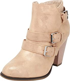 Cambridge Select Women's Buckle Strap Block Chunky Heel Ankle Booties