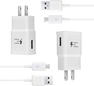 Wall Charger Kit Adaptive Fast Charge Compatible Samsung Galaxy S7 / S7 Edge / S6 / S6 Plus / Note5/4 /S4/S3, USB 2.0 Fast Wall Charger Adapter and Micro USB Cable (2 Adapter + 2 Cable)