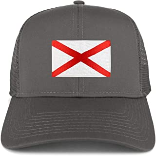 Armycrew XXL Oversize New Alabama State Flag Patch Mesh Back Trucker Cap - Charcoal