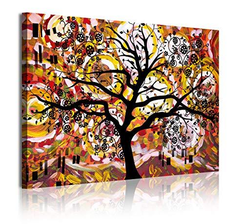 DekoArte 371 - Cuadros Modernos Impresión de Imagen Artística Digitalizada | Lienzo Decorativo Para Tu Salón o Dormitorio | Estilo Abstracto Arte Árbol de la Vida de Gustav Klimt | 1 Pieza 120 x 80 cm