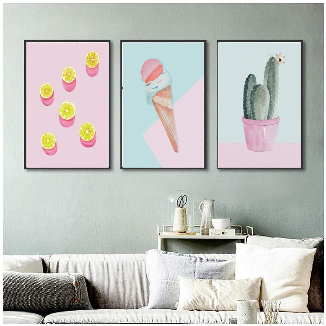 人質痛みシーンFaaddd 3ピースかわいいサボテンポスターアイスクリームガールズルームキャンバス絵画保育園??スタイル子供の装飾壁写真用リビングルーム50×70センチ×3いいえフレーム