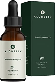 Hemp Oil Extract :: Alchelix Premium All Natural Drops for Anxiety, Pain Relief, Stress, Relaxation, Sleep Aid :: Anti Inflammatory Herbal Supplement, Omega 3 6 9 Promotes Joint Support :: 250mg 1oz