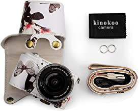kinokoo Leather Camera Case Flowers Pattern Tailored for SONY A5000 A5100 NEX-3N and Specialized for 16-50mm Lens White