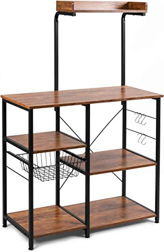 """new arrival Giantex Kitchen Baker's Rack, 4-Tier Microwave Storage Stand, Utility lowest Storage, Wire Basket with 5 Hooks, Spice Utensils for Organizing Work sale Station Shelf 35.5"""" Length (Brown&Black) outlet online sale"""