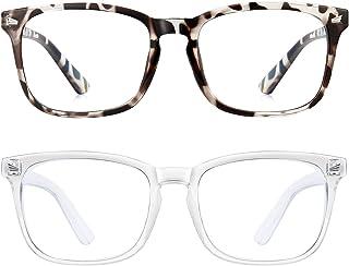 Blue Light Blocking Glasses Square Computer Glasses Women/Men, Nerd Reading Gaming Glasses Non Prescription