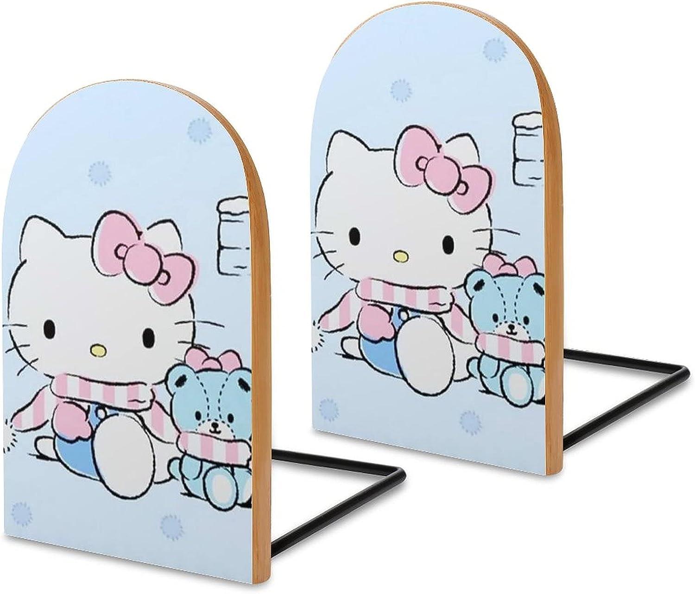 KRISMARIO Hello Kitty Snow 2pcs Heavy Wood Logs Bookends Modern