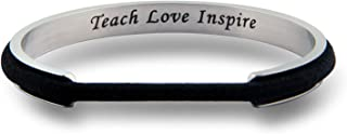 WUSUANED Teacher Appreciation Gifts Teach Love Inspire Hair Tie Grooved Cuff Bangle Bracelet