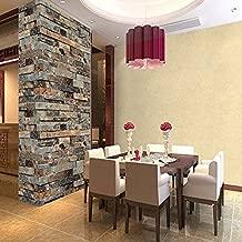 QIHANG Three-Dimensional Wallpaper Brick Wall Wallpaper 3D Textured Bricks Cyan-Blue Color 1.73' W x 32.8' L