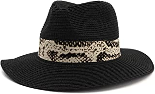 LIWENCUI Summer Panama Hat Hollow Out Straw Hat for Men Women Leather Ribbon Large Brim Sun Beach Hat Jazz Cap (Color : Black, Size : 56-58CM)
