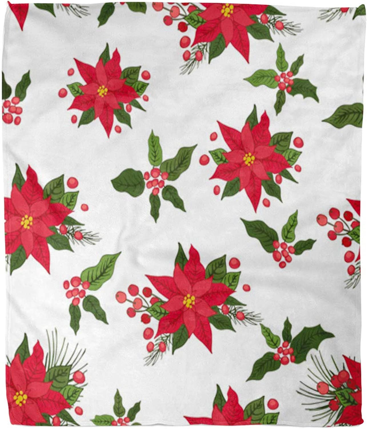 Emvency Throw Blanket Warm Cozy Print Flannel Green Pattern Christmas Poinsettia Flowers Holly Pine for New Year Red Drawing Comfortable Soft for Bed Sofa and Couch 50x60 Inches
