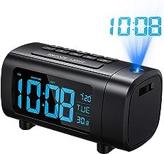 Mpow Reloj Despertador de Proyección, Radio Despertador, Reloj Despertadores Digitales, Dígito Azul y Blanco con Dimmer, Snooze, Temperatura, Fecha, DST, Temporizador de Apagado, Puerto USB