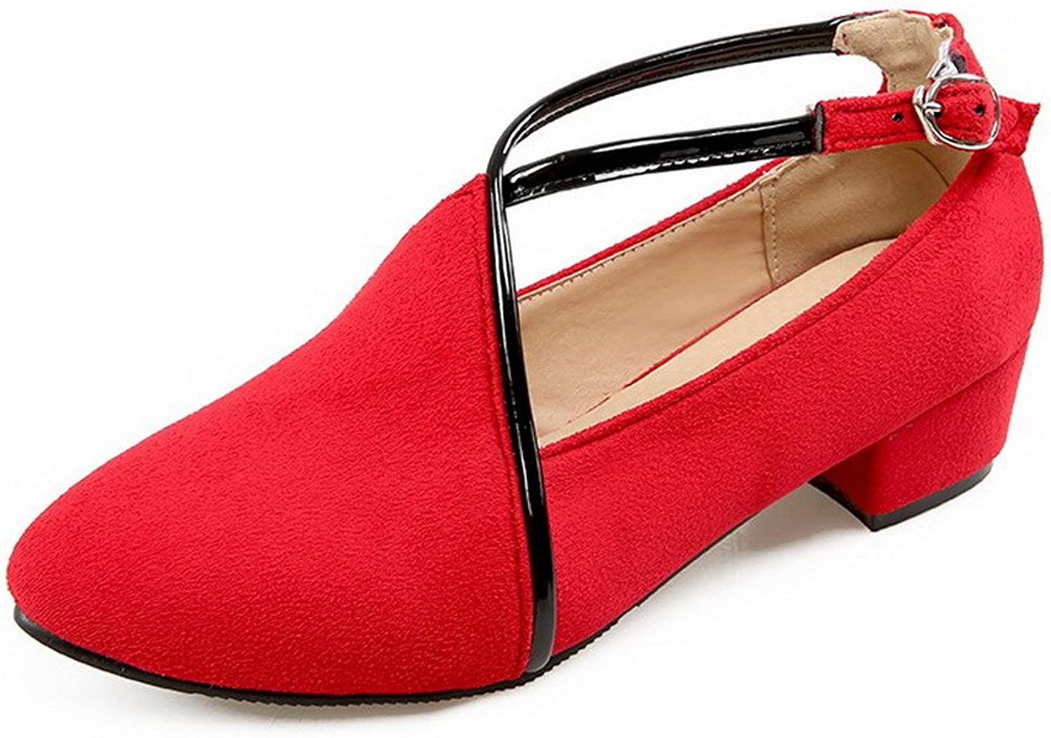 AllhqFashion Women's Frosted Buckle Pointed Closed Toe Low Heels Solid Pumps-shoes