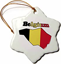 3dRose ORN_57054_1 The Flag of Belgium in The Outline Map of The Country and Name Belgium Snowflake Porcelain Ornament, 3-Inch