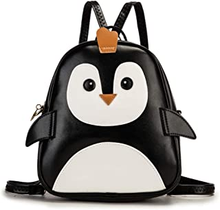 KL928 Cute Mini Backpack Toddler Animal Casual Daypack PU Leather Preschool Convertible Shoulder Bag Gift for Kids Boys Girls (Penguin)