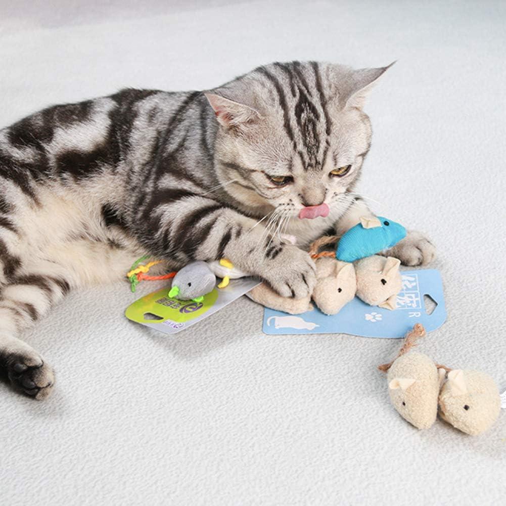 Los ratones del juguete del gato 3PCS de la felpa animal del gato Juguetes del rat/ón del gato juguetes para mascotas Rata Squeak ruido Simulaci/ón rat/ón sonido Morder Rascar Suministros Reproducci/ón