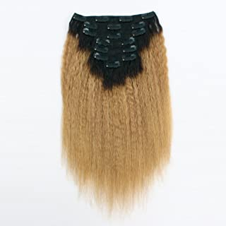 AmazingBeauty 8A Texlaxed Kinkys Straight Clips Hair Ombre Extensions Double Weft Remy Human Hair for Black Women, Natural Black Fading into Caramel Blonde, 7 Pieces, 115 Grams, KS TN27, 20 Inch