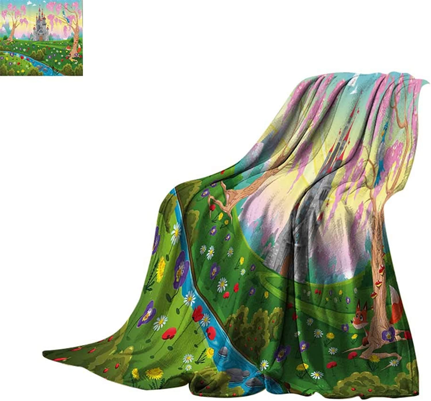 Cozy Flannel Blanket Cartoon Decor,Fairy Tale Castle Scenery in Floral Garden Princess Kids Girls Fantasy Picture,Multi Lightweight E x tra Big Bed or Couch 60 x35