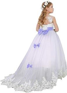 Bow Dream ガールズドレス 女の子のドレス ピアノ発表会ドレス フォーマルドレス ロングドレス レース チュール 花嫁の介添え 袖なし