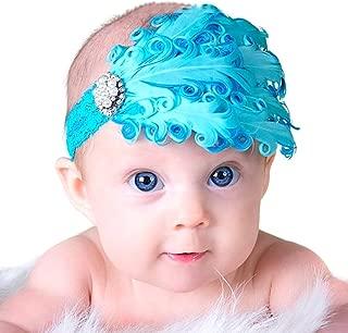 LOCOMO perles et bandeau pour bébé fille en dentelle élastique FBA026 plume Bleu