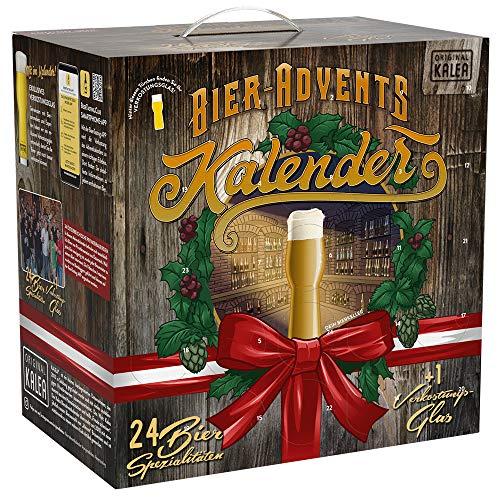 KALEA Bier-Adventkalender, 24 x 0,33 L Flaschen österreichische Bier-Spezialitäten und 1 Verkostungsglas, neue Bestückung 2020, perfekte Geschenkidee für Männer zur Vorweihnachtszeit