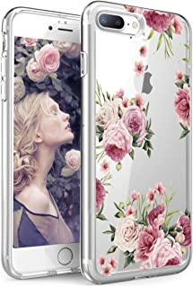 iPhone 7 Plus Case,iPhone 8 Plus case,Spevert Flower Pattern Printed Clear Design Transparent Hard Back Case with TPU Bumper Cover for iPhone 7 Plus / 8 Plus 5.5 inches Pink SPVSHiphone7case