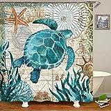 Uphome Duschvorhang mit Meeresschildkrötenmotiv, nautische blaue Landkarte, Duschvorhang Navigation unter dem Meer, extra langer Stoff, Duschvorhang, schwer, wasserdicht, 72 x 78 cm