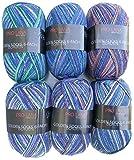 6 ovillos de lana para calcetines, 150 g, 900 g, 6 hebras, patrón para tejer o hacer ganchillo