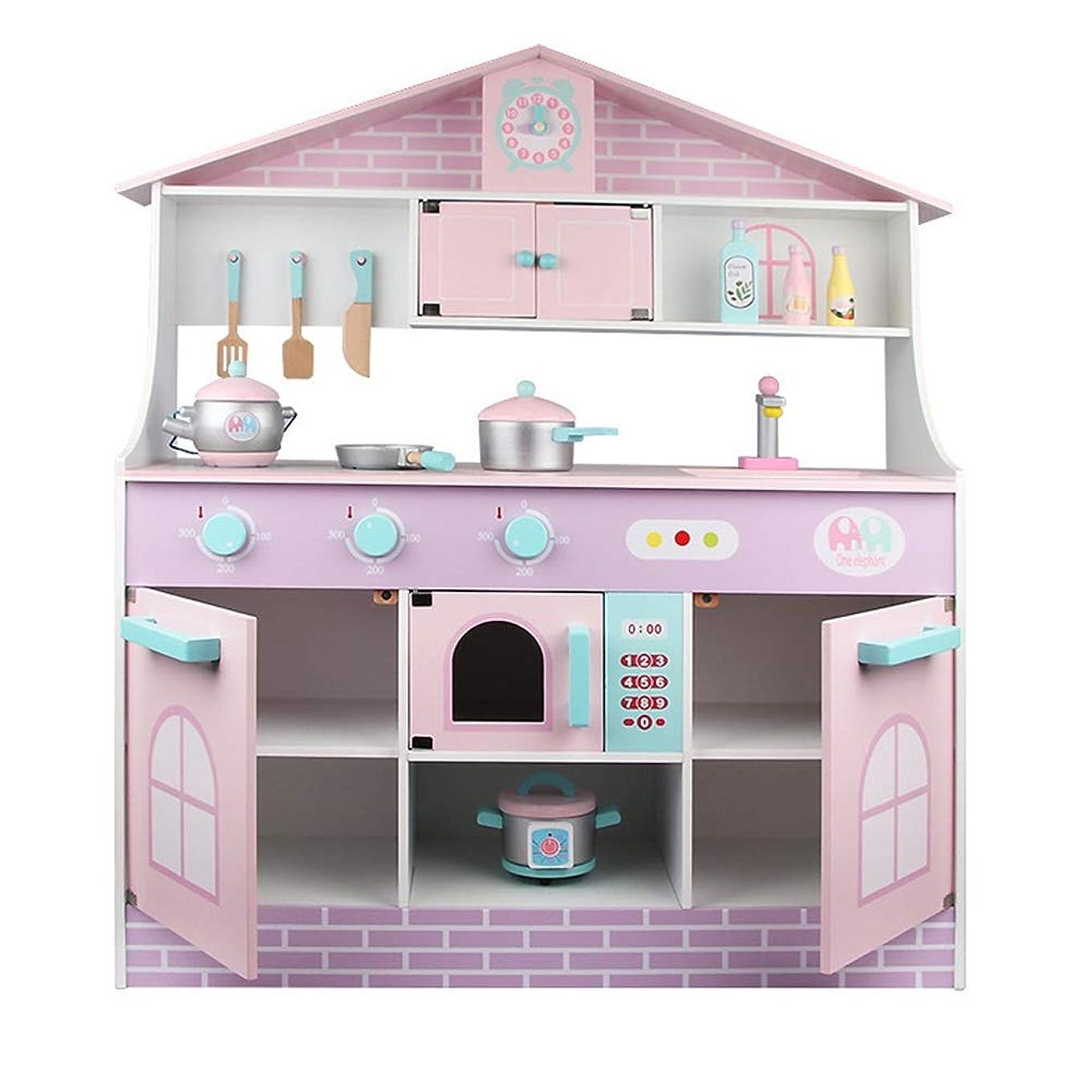 不適当引数居間就学前のキッチンセット ごっこ遊びのための幼児用キッチン、キッズキッチンPlaysetsを再生、木のおもちゃキッチンプレイセットのおもちゃ (Color : As picture, Size : 81.5x28.5x94.5cm)