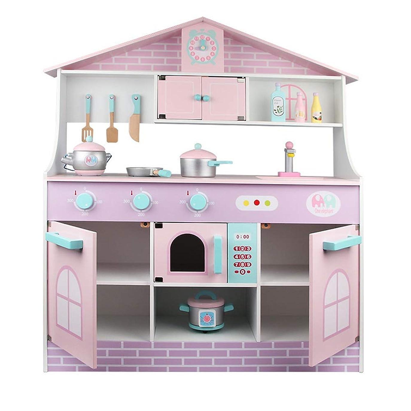 手首校長スクワイアキッチンおもちゃ ごっこ遊び木製おもちゃのための幼児キッズキッチンPlaysetsのためにキッチンを再生します 調理器具?食器 (色 : As picture, Size : 81.5x28.5x94.5cm)