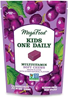 MegaFood, Kids One Daily Multivitamin Soft Chews, Supports Child Development and Growth, Gluten-Free, Vegetarian, Grape, 3...