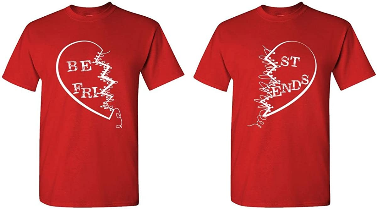 Best Friends Buddies - Couples Two T-Shirt Combo, 2XL Left, XL Right, Red