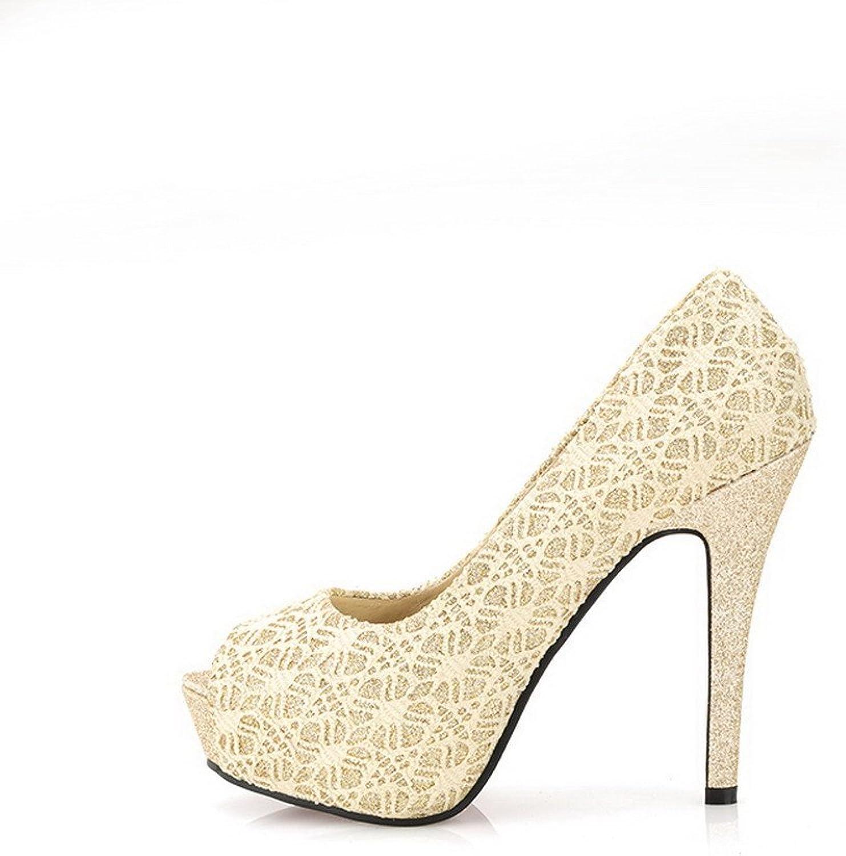 WeiPoot Women's Open Peep Toes Platform High Heel Stiletto PU Soft Material Pumps, gold, 39